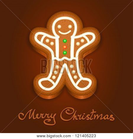 Gingerbread Man Decorated Icing. Holiday Cookie In Shape Of Man For Christmas, Winter Holiday