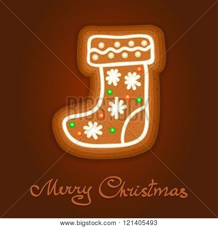 Gingerbread Christmas Sock Decorated Icing. Holiday Cookie In Shape Of Christmas Sock