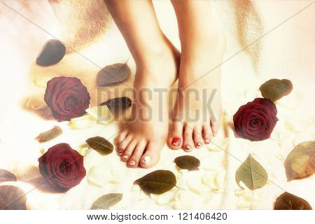 Female legs pedicure close up view. Romantic spring nail painting. Delicate spring pedicure. Drawing on nails. Beautiful well-groomed feet with pedicure and varnish on nails and artistic painting.