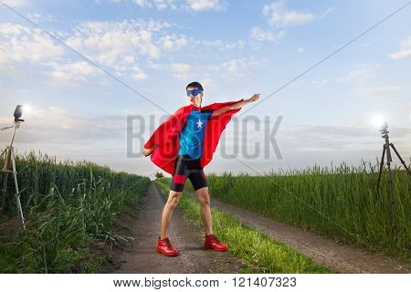 Funny Superhero Taking A Photo