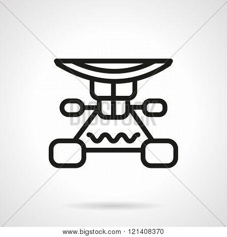 Longboard suspension black line design vector icon
