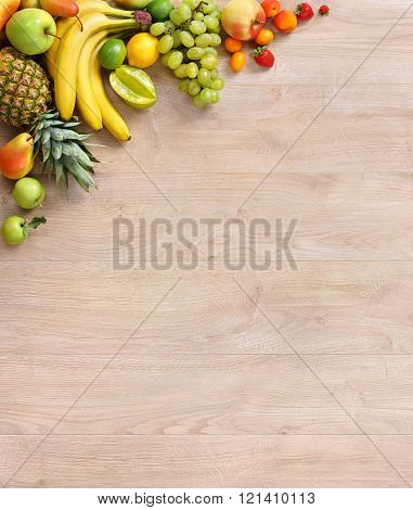Organic fruits background