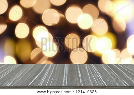 empty wooden table with bokeh light blur background