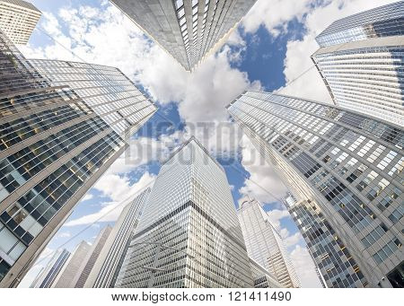Fisheye Lens Photo Of Skyscrapers In Manhattan, New York City, Usa