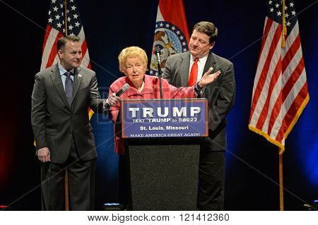 Saint Louis, MO, USA - March 11, 2016: Phyllis Schlafly talks to supporters at the Peabody Opera House in Downtown Saint Louis
