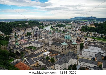 Aerial View Of The Historic City Of Salzburg At Cloudy Weather, Salzburgerland, Austria