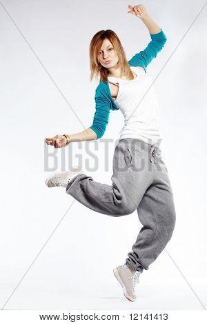 Teenage girl dancing hip-hop studio series