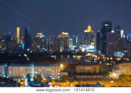 Night blurred lights city downtown, abstract bokeh background