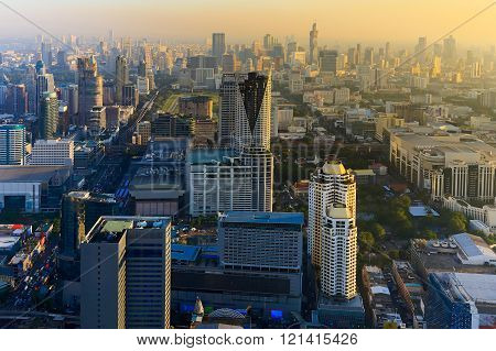 Before sunset over Bangkok city downtown areal view, Thailand