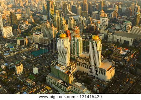 Aerial view Bangkok city business area during sunset