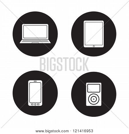 Modern gadgets black icons set