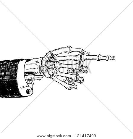 Scary skeleton hand pointing, hand-drawn sketch, black and white, isolated on white. Vector illustra