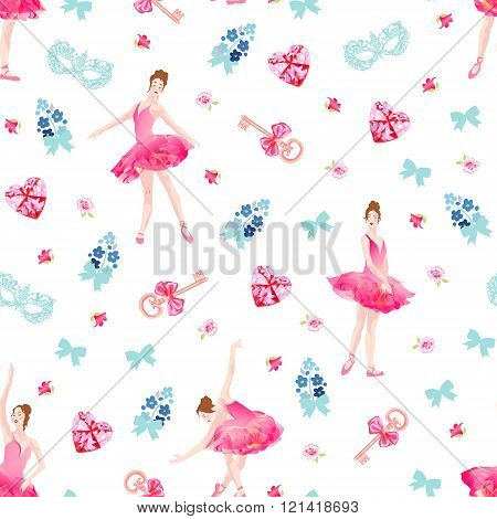 Romantic Seamless Vector Pattern With Ballerinas, Keys, Bows, Pink Diamond Hearts, Flowers