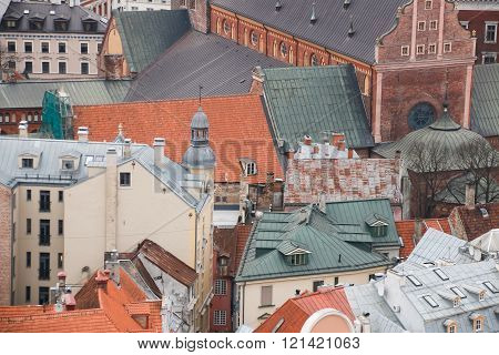 View On The Roofs Of Old Houses, Riga, Latvia