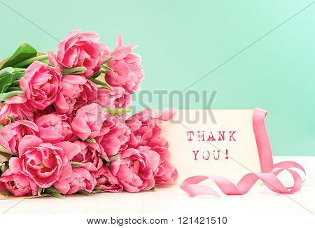 Pink Tulips And Card Thank You! Postcard Concept