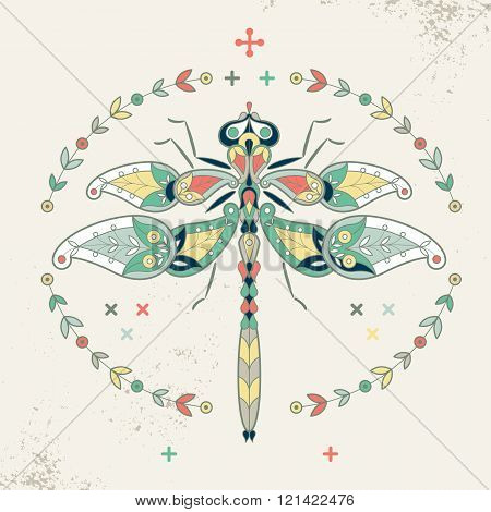 Decorative vector illustration dragonfly. Ornamental dragonfly and wreath. Dragonfly to create posters stickers printing on T-shirts. Hipster dragonfly. The motives of Turkish cucumber. Vintage.