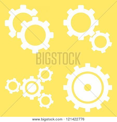 Gear Wheels Flat Vector Symbols