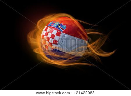 Soccer Ball With The National Flag Of Croatia, Making A Flame.
