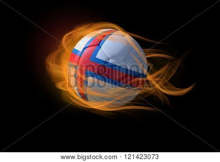 Soccer Ball With The National Flag Of Faroe Islands, Making A Flame.