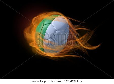 Soccer Ball With The National Flag Of Ireland, Making A Flame.