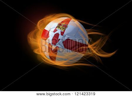 Soccer Ball With The National Flag Of Northen Ireland, Making A Flame.
