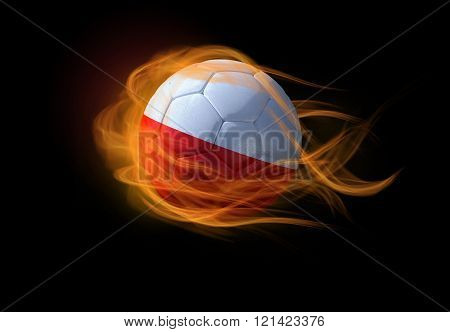 Soccer Ball With The National Flag Of Poland, Making A Flame.