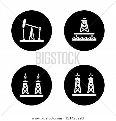 Oil industry black icons set