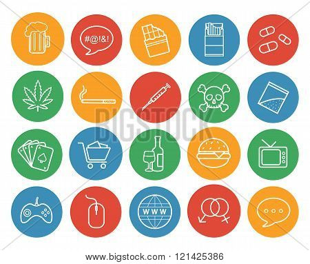 Bad habits color linear icons set