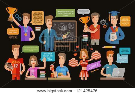 education or school, college set icons. vector illustration