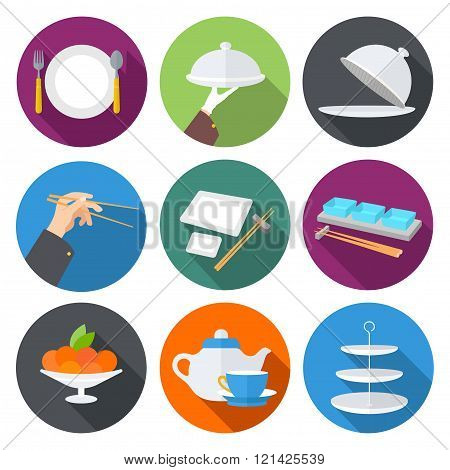 Set flat design icons for restaurant,