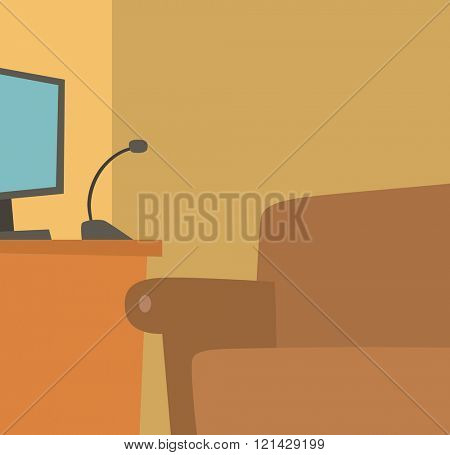 Home recording place vector illustration. Sound recording mike and computer background.