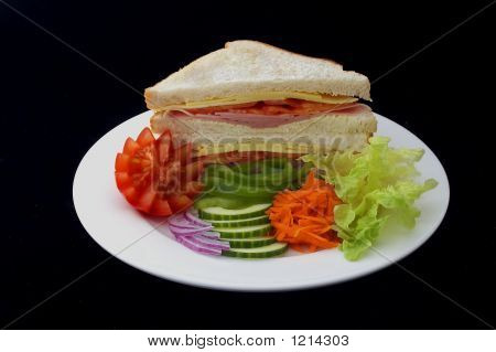 Sandwich-Ham, Cheese And Fresh Salad
