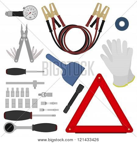 Emergency road kit items set
