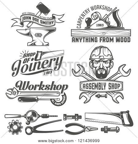 Logo with working tools