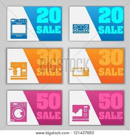 A Set Of Banners For The Sale Of Household Appliances