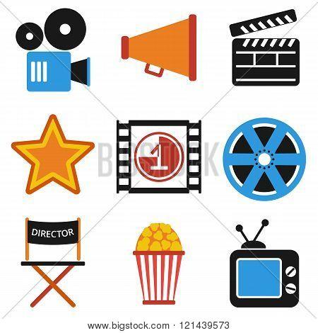 Retro Set Of Cinema Vector Icons In Flat Design