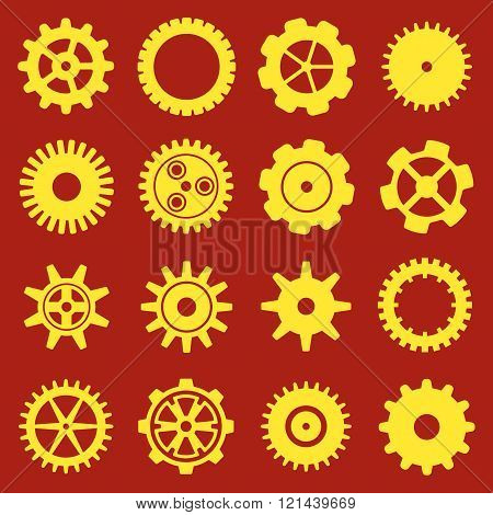 Gears And Cogs. Icons Set In Vector