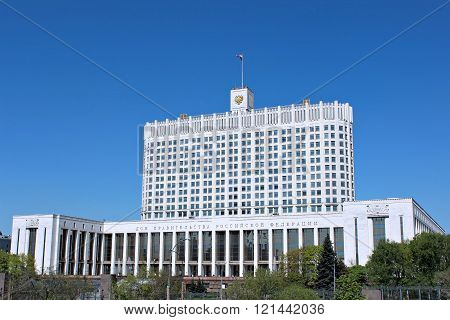House Of The Government Russian Federation Against The Blue Sky
