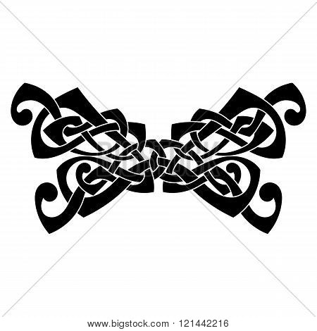 Elegant difficult curled ornamental gothic tattoo. Celtic style. Maori.