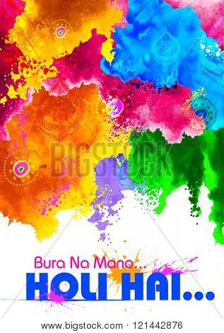 illustration of abstract colorful background with messgae Bura na Mano Holi Hain meaning Do not get offended as it is Holi