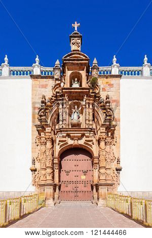The Sucre Cathedral (Metropolitan Cathedral of Sucre) on Plaza 25 de Mayo square in Sucre Bolivia. poster