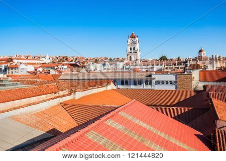 Sucre aerial view from the Church of San Felipe Neri viewpoint in Sucre Bolivia poster