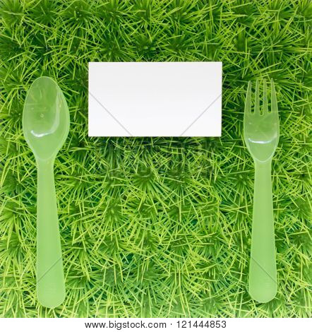 The Background For The Presentation Of The Logo About Diet And Proper Nutrition, With Fork And Spoon