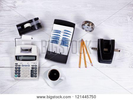Vintage Office Equipment On White Desktop Background