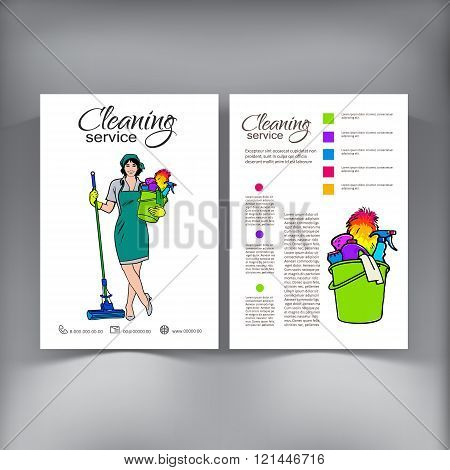 Cleaning Services. The Cleaner with a Mop. Cleaning Homes and Offices. Cheerful Girl with a Bucket. Bucket with Cleaning Cleaners. Woman in Uniform. Hand Drawn Colorful Painted. Vector