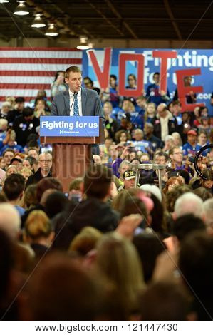 Saint Louis, MO, USA - March 12, 2016: Missouri Secretary of State Jason Kander (D) at Hillary Clinton rally at Nelson-Mulligan Carpenters? Training Center in St. Louis.