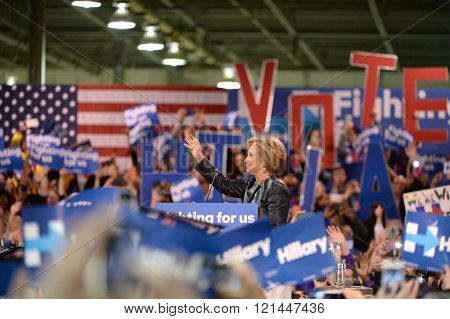 Saint Louis, MO, USA - March 12, 2016: Democratic presidential candidate and former Secretary of State Hillary Clinton campaigns at Nelson-Mulligan Carpenters?? Training Center in St. Louis.