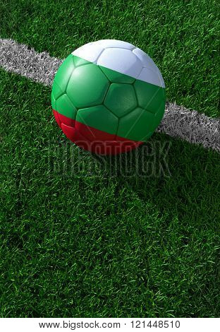 Soccer Ball And National Flag Of Bulgaria,  Green Grass