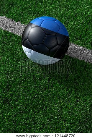 Soccer Ball And National Flag Of Estonia,  Green Grass