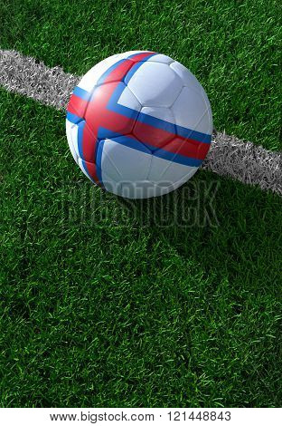 Soccer Ball And National Flag Of Faroe Islands,  Green Grass